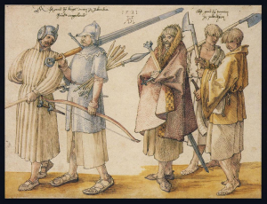 Dürer's image of the Irish gallowglasses and kerns. Note the hollow pommel on the sword.