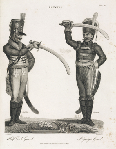 Engraving by J Chapman after C Elliott, of Austrian (left) and Russian (right) officers fencing. Illustration from 'Encyclopaedia Londinensis, or, Universal Dictionary of Arts, Sciences, and Literature' published in London, 1810-1829.